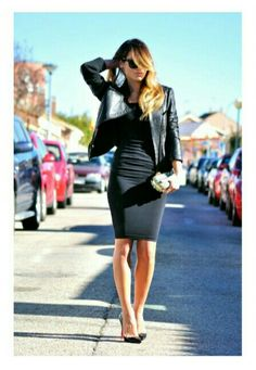Motorcycle Jacket, Black Heels, Black BodyCon Dress