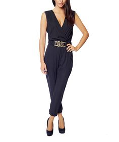 This Black Buckle-Accent Surplice Jumpsuit is perfect! #zulilyfinds