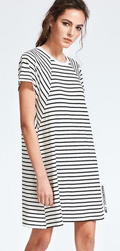 Striped Raglan Sleeve Tee Dress