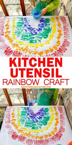 Kitchen Utensil Rainbow Craft – HAPPY TODDLER PLAYTIME Do you love rainbows? I do! And your toddler or preschooler will absolutely love this easy to set up painting activity using different kitchen utensils to create a beautiful and textured rainbow! #toddler #preschool #craftsforkids