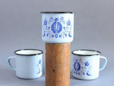 Soviet enamelware cup  Pale blue vintage enamel mug  by somesoviet