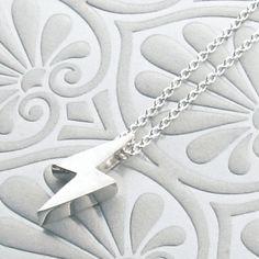 Sterling Silver BABY LiGHTENING BOLT Necklace. $55.00, via Etsy.