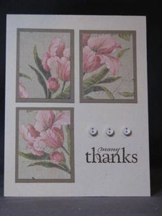 Nice lay-out - use large floral background stamp rather than patterned paper - then cut. Making Greeting Cards, Greeting Cards Handmade, Tarjetas Stampin Up, Napkin Cards, Stamping Up Cards, Rubber Stamping, Pretty Cards, Card Sketches, Copics