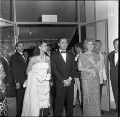 Lea Massari, director Michelangelo Antonioni with Monica Vitti at Cannes for L'avventura, 1960