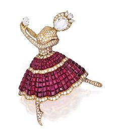 18 KARAT GOLD, MYSTERY-SET RUBY AND DIAMOND 'BALLERINA' BROOCH, VAN CLEEF & ARPELS