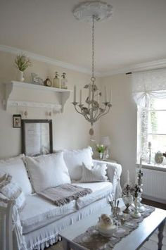 Living Room. White, Grey, Black, Chippy, Shabby Chic, Whitewashed, Cottage, French Country, Rustic, Swedish decor Idea. ***Pinned by oldattic ***. by della