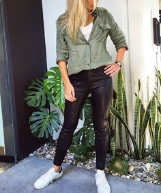 """Calexico on Instagram: """"New @equipmentfr khaki button up available now  Nicky pairs hers with a pair of leathers and @isabelmarant Bart sneakers """""""
