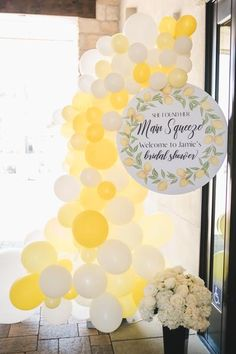 She Found Her Main Squeeze Lemon Theme Bridal Shower - Paisleys and Polka Dots Lemons are the craze right now and they make for some awesome party themes; a bridal shower, baby shower, even a birthday party! Of course for the bridal shower I went with, Bridal Shower Balloons, Bridal Shower Tables, Bridal Shower Rustic, Bridal Shower Party, Bridal Shower Decorations, Bridal Shower Invitations, Themed Bridal Showers, Italian Party Decorations, Wedding Showers