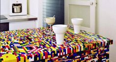 Design duo Munchausen took a simple IKEA kitchen island and spent a week (and more than pieces) creating this unique kitchen centerpiece. IKEA plus LEGO equals Scandinavian design, through and through. Lego Furniture, Unique Furniture, Furniture Design, Furniture Ideas, Furniture Storage, Cheap Furniture, Furniture Websites, Minecraft Furniture, Lego Kitchen