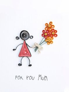 Quilled Mothers Day card handmade greeting card by szalonaisa