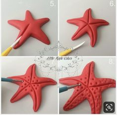 starfish tutorial estrela do mar Polymer clay sea stars tutorial – step by step Polymer clay starfish- I would much prefer to make them than use ones that have been killed! Baby Boom Serbia: Svasta - something of fondant Related posts Best friend photo Fondant Toppers, Fondant Cupcakes, Cupcake Toppers, Bunny Cupcakes, Mermaid Birthday Cakes, Mermaid Cakes, Fondant Figures, Polymer Clay Crafts, Diy Clay