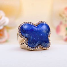 Rose Gold Over Sterling Silver Deep Blue Lapis Butterfly Ring