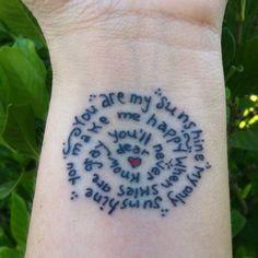 sun tattoo with you are my sunshine | You are my sunshine...