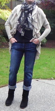 f47f981a75b Rolled cuffs on jeans over mid calf boots. DSCN5778 Plain Black T Shirt
