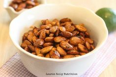 Chili Lime Roasted Almonds - To make low carb use your favorite Sugar Free Sweetener instead of regular maple syrup. I use Maple Grove Farms Sugar Free Maple Syrup Stevia Erythritol or Swerve. Yummy Healthy Snacks, Yummy Appetizers, Appetizer Recipes, Healthy Food, Sauces, Sugar Free Maple Syrup, Advocare Recipes, Paleo Meal Plan, Roasted Almonds