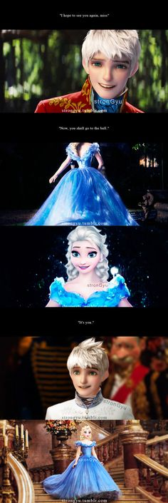 Elsa as CinderElsa (Cinderella) and Jack Frost as Prince Kit (Prince Charming)