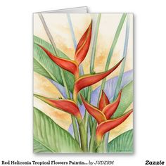 Red Heliconia Tropical Flowers Painting - Multi Greeting Card