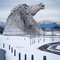 """The Kelpies"" sculptures in Falkirk are 30 meters high and weigh 300 tons each. Photo by berriestagram on Instagram."