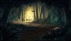 Even though Gandalf didn't go in to Mirkwood with the company, this is still a lovely painting.    Into the Mirkwood by ~thalion-art on deviantART