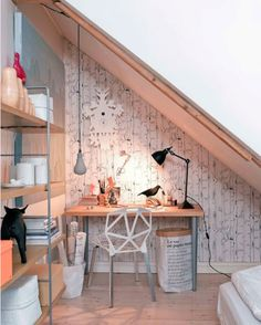 A #nature-inspired under the #stairs #workspace