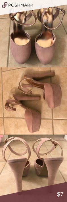 """Blush colored ankle strap pumps Blush and rose gold colored pumps. 6"""" heels and 1 1/2 platform. Wear with jeans and a cute top, or wear with a dress. Either way it'll look great with your outfit!!  JustFab Shoes Heels"""