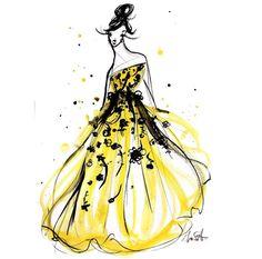 Golden girl resplendent in Oscar de la Renta Resort 17. Illustration by Mary Saporito.