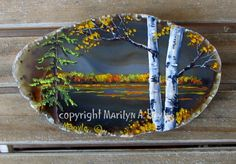 """I painted this on an agate chunk. """" Autumn Days"""""""