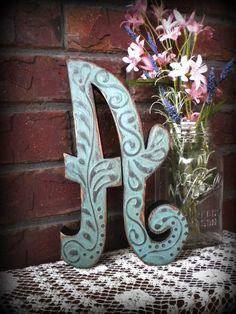 """Pretty 10"""" painted letter """"A"""" in soft """"rebel blue""""...sanded stained & sealed...ready to make someone's house pretty."""