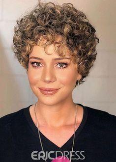 Short Layered Curly Hair, Short Curls, Short Hair Cuts, Perms For Short Hair, Pixie Cuts, Long Curly, Short Curly Hairstyles For Women, Curly Bob Hairstyles, Curly Hair Styles