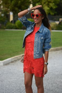 Red lace dress Revolve - Levi's denim trucker jacket