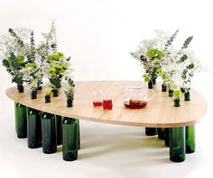 DIY Inspiration: Wine Bottle Coffee Table - Could use to add height to existing table/counter.