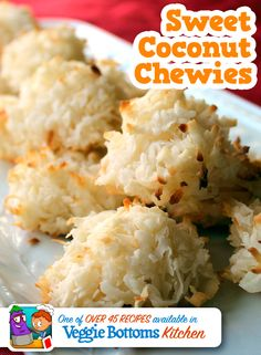 Sweet Coconut Chewies is one of over 45 kid-friendly, vegetarian recipes included in Veggie Bottoms Kitchen – The top-rated cookbook app for kids!