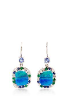 Zozo Boulder Opal, Sapphire, Emerald, And Diamond Earrings by Mimi So