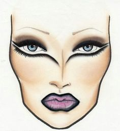 Fierce Eye liner Face chart by Ayeshea Bah @ www.creatingfx.co.uk For more amazing facecharts and Makeup looks visit www.creatingfx.co.uk or her Facebook Page! #MAC facechart
