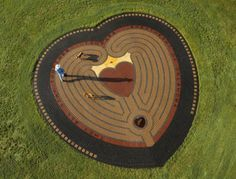 """45-foot, 7-circuit, dual-pathed """"Heart in the Park Labyrinth"""" with a heart-shaped goal. Tonkawa, Oklahoma"""