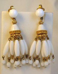 Crown Trifari White Lucite Chandelier Dangle Earrings