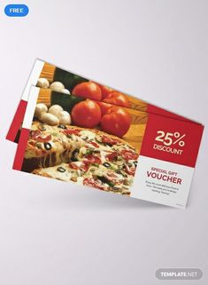 Grab this lunch voucher template that you can use for your pizza restaurant. Free to download and perfect for giving discounts, meal gifts, or tokens. This template is easy to edit and fully customizable. Free Vouchers, Gift Vouchers, Pizza Restaurant, Restaurant Offers, Microsoft Publisher, Microsoft Word, Corporate Identity, Brochure Design, Special Gifts