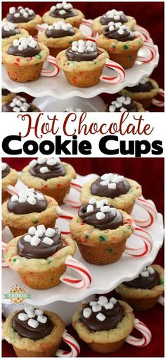 Hot Chocolate Cookie Cups are festive Christmas cookies! Sugar cookie cups filled with fudge, mini marshmallows & sprinkles. Love the candy cane handle! Hot Chocolate Cookie Cups are sugar cookies perfect for the holidays. from FAMILY COOKIE RECIPES Chocolate Christmas Cookies, Christmas Deserts, Hot Chocolate Cookies, Holiday Snacks, Holiday Recipes, Fudge Cookies, Christmas Popcorn, Cute Christmas Cookies, Christmas Sprinkles