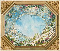 Jules Edmond Charles Lachaise Design for a Ceiling with Clouds, Trellises and Roses century Ceiling Painting, Ceiling Murals, Mural Painting, Wall Murals, Ceiling Ideas, Vintage Wall Art, Vintage Walls, Grisaille, Ceiling Design