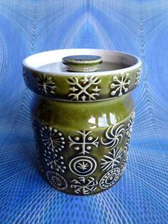 Portmeirion Vintage Small Storage Jar In Totem Design - Sage Green - TTS27