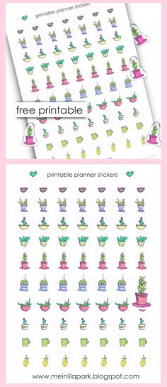 FREE printable planner stickers : cactus planner stickers