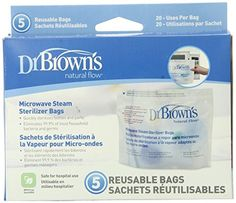Dr. Brown's Microwave Steam Sterilizer Bags, 5 Count (Pack of 3) - The Dr. Brown's Natural Flow Microwave Steam Sterilizer Bags sterilizes parts from Dr. Brown's baby bottles, eliminating 99.9% of most household bacteria and germs. They are designed to fit all Dr. Brown's baby bottle parts, and they are perfect for steam cleaning while on?the?go or while traveli...
