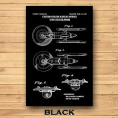 USS Excelsior Patent Print Star Trek Poster Excelsior | Etsy David Carson, Star Trek Poster, Technical Artist, Jeep Gifts, Patent Drawing, Crisp Image, Patent Prints, Spaceship, Colorful Backgrounds