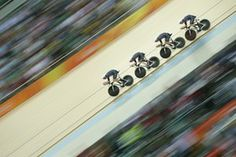 Great Britain's Edward Clancy, Steven Burke, Owain Doull and Bradley Wiggins set a new world record in the men's team pursuit.