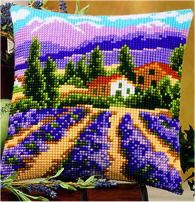 Lavender Field Chunky Cross Stitch Cushion Front Kit