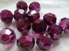3 Huge 22mm Round Faceted Half Metallic Czech Purple Crystal Glass Focal Beads #458