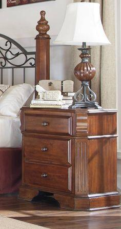 Wyatt Traditional Medium Brown Cherry Stain Wood Night Stand