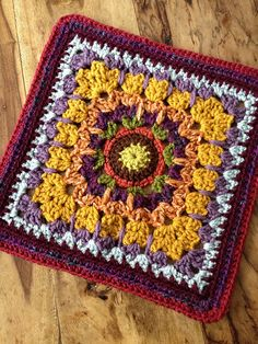 """Ravelry:  See How They Run 12"""" Afghan Mystery Block. Pattern on Ravelry. (can you see the 'kittens' that rounds 6-8 make?)"""