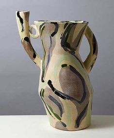 Allison Bitton, large pot with a fluted collar, spout and handle