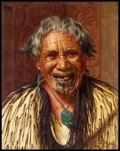 """""""Maori Woman With Moko"""" by C. F. Goldie, painted 1910. There is nothing known about this mystery woman depicted on a small 19x14cm painting which sold at auction for $140,000 in 2012. The lip and chin moko suggest a person of rank and distinction Maori Face Tattoo, Maori Words, Polynesian People, Maori People, New Zealand Art, Kiwiana, Bone Carving, Claude Monet, The Past"""